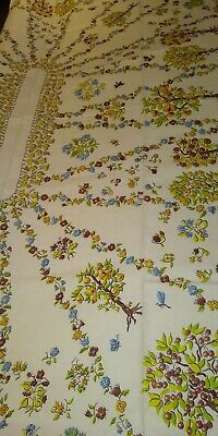 HTF Vintage HARDY CRAFT Tablecloth Fruit Trees Flowers  TAG VERY NICE