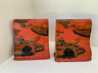 Vintage Chinese Lacquer Bookends (K16)