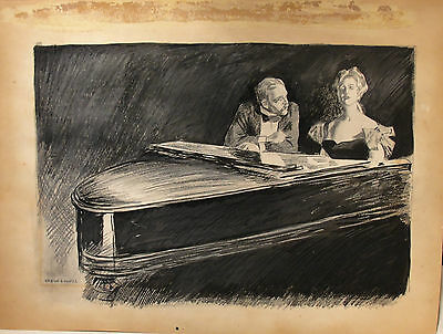 Orson Lowell c.1905 piano painting Gibson Girl woman New Rochelle NY artist