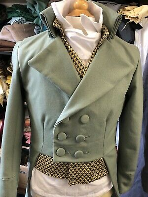 Regency Style Frock Coat In Sage Coloured Crowther's Of Huddersfield Wool