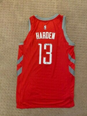 big sale ef1e1 504bc JAMES HARDEN SIGNED Nike Home Red Houston Rockets Jersey Autographed with  Becket