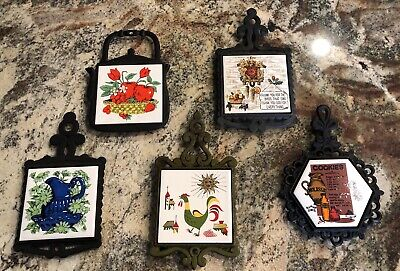 Your Choice Of Vintage Cast Iron Trivets With Ceramic Tile Inserts EUC