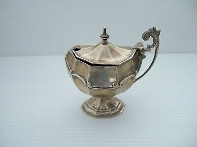 Victorian - Chester Solid Silver Mustard Pot With Gilt Lining + Blue Glass Liner