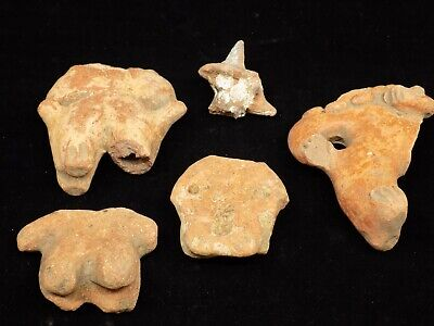 Pre-Columbian Clay Fragments, Set of 5