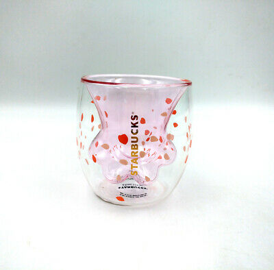 2019 Starbucks Sakura Pink 6oz Cat's Paw Coffee Cup Double Wall Glass Mug Hot