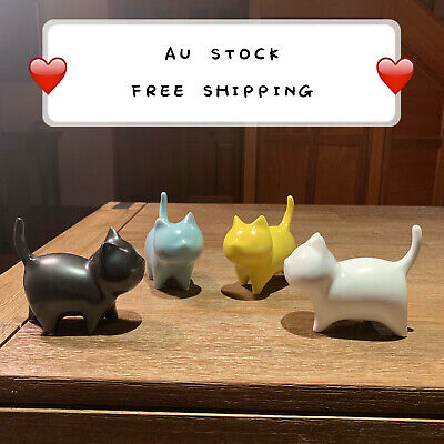 2Pacs/set Four Colours Ceramic Handmade Cat Figurine Statue Sculpture C7