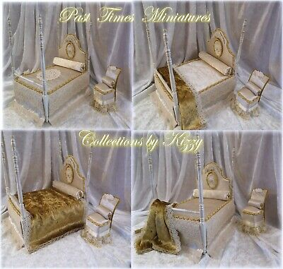 Dolls House Unique Colonial Four Poster Dressed Bed & co-ordinating Chair 1:12