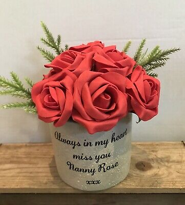 Rustic Cement Plant Holder Memorial Grave Side Rememberance Personalised Message