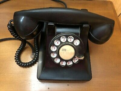 Vintage black 302 rotary phone telephone.  Western Electric. Modular.  3
