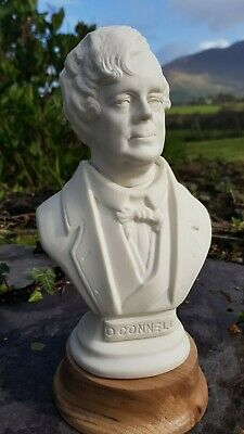 Rare 9 inch bisque  parian bust of Daniel O Connell Cahersiveen on turned base