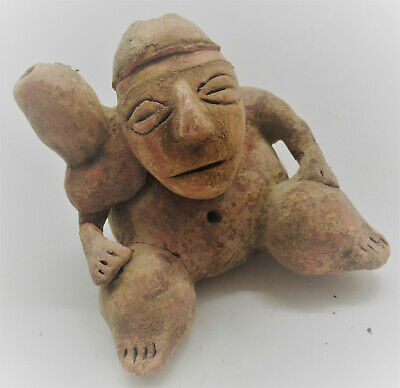 Ancient Mexican Meso-American Seated Terracotta Worshipper Figurine Mayan