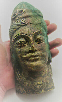 Scarce Ancient Tibetan Gold Gilded Facemask Bearded Male Figure