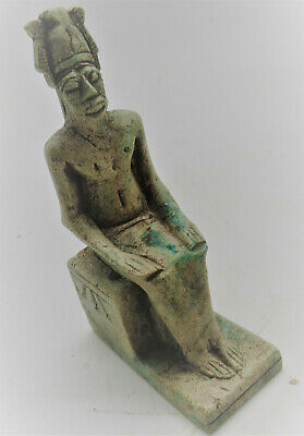 Superb Ancient Egyptian Glazed Stone Figurine Of Osiris Seated