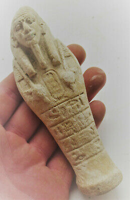 Circa 664-332Bce Ancient Egyptian Stone Composition Ushabti Shabti W/Heiroglyphi