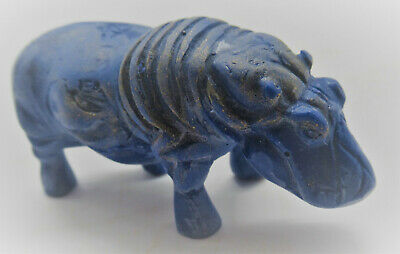 Beautiful Vintage Egyptian Blue Stone Hippo Figurine Statue