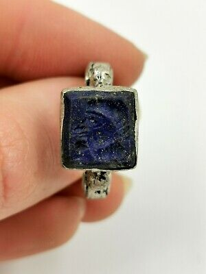 Post Medieval Ca.1700 Ad Silver Alloy Ring With Lapiz Lazuli  Intaglio R731