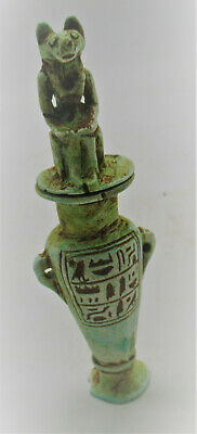 Circa 664-332Bce Ancient Egyptian Glazed Faience Amphora Vessel W/anubis On Top