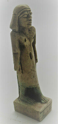 Superb Ancient Egyptian Glazed Stone Statuette Of Phaoronic Figure