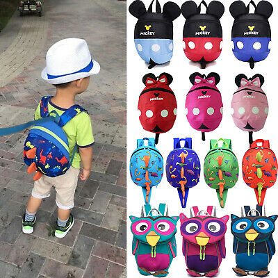 UK Baby Toddler Kids Dinosaur Mickey Cartoon Safety Harness Strap Bag Backpack