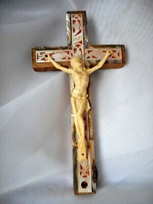 Vintage Abalone Olive Wood Cross Crucifixion Jesus Christ 14 Stations of Cross