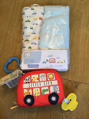Mothercare On The Road 2 Extra Large Muslin Blankets Perfect For Swaddling & Toy