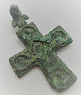Ancient Byzantine Bronze Double Sided Religious Cross Pendant 700-800Ad