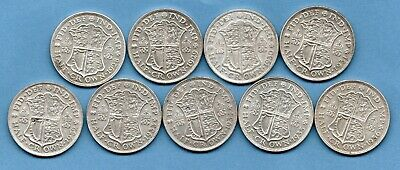9 X George V Silver Halfcrown Coins Dated 1928 - 1936. Includes 1930 Half Crown.