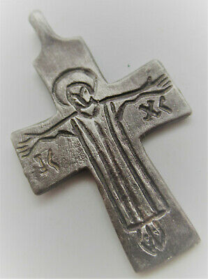 Superb Ancient Byzantine Silver Crucifix Cross Pendant Depiction Of Christ