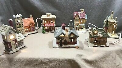 """Christmas Village 7 Buildings with Light Cord w/Seven Lights Porcelain 5.5"""" Tall"""
