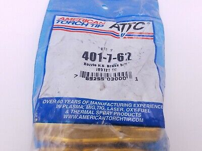 """2 Pcs American Torch Tip ATTC 401-7-62 Nozzle MIG Welding Tregaskiss Style 5/8"""""""