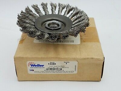 "Weiler 13486 4-1/2"" Bevel Knot Brush .020 SS Wire Wire Wheel Abrasive CNC"