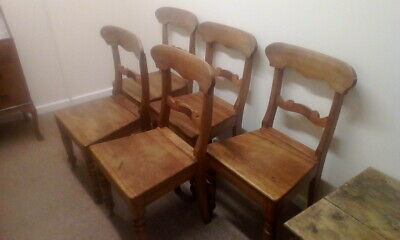 Set Of 5 Antique Victorian Oak Country House Chairs Kitchen Dining Chairs