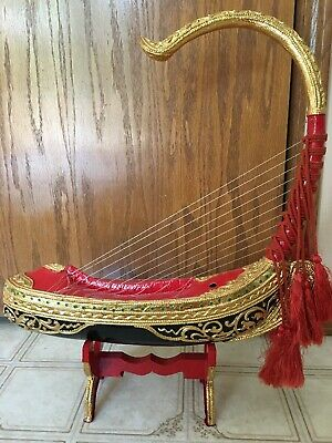 """Vintage Antique Ancient Ship With Strings Extremely Unique 21"""" High On Stand"""