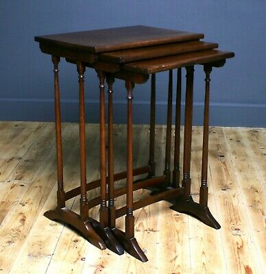 Attractive Good Quality Vintage Inlaid Mahogany Nest Of Three Tables