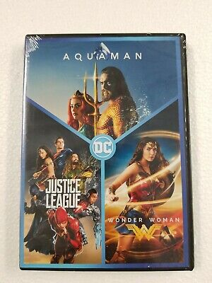 DC 3-Film Collection: Aquaman / Justice League / Wonder Woman (DVD,2019) SEALED