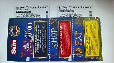 Alton Towers Tickets X 2 Tues 3rd Sept