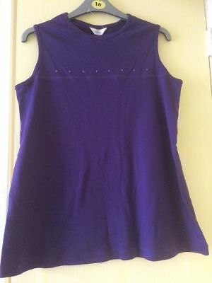 Brand New Maternity Tesco Purple Summer Holiday Sleeveless Top Size 16