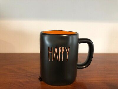 Rae Dunn By Magenta LL HAPPY HALLOWEEN Double Side Orange Interior Black Mug