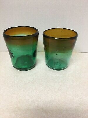 2 Heavy Glass Hecho En Mexico Hand Blown  Glasses Tumbler
