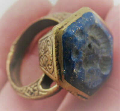 Lovely Late Medieval Islamic Ottomans Gold Gilt Ring With Lapis Lazuli Intaglio