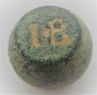 Ancient Byzantine Bronze Barrel Weight For Solidus Coins Inscribed I.b