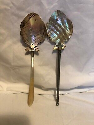 ANTIQUE VICTORIAN MOTHER OF PEARL INLAID + CARVED FISH SPOON LATE 1800'S ? Xs 2