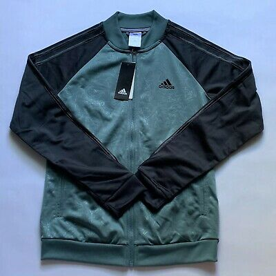 adidas boys track jacket zip up size small 8-10 green/black nwt