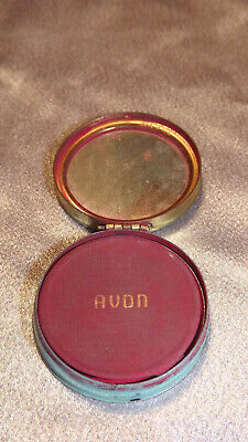 Vintage Avon Round Rouge Compact With Mirror & Puff Turquoise Enamel Collectible