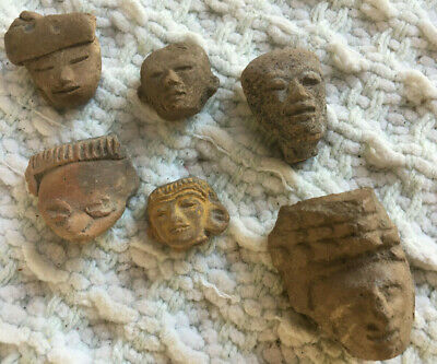 Estate - 6 Small Pre Columbian Heads Aztec Mayan Olmec Mexican - Priority Ship
