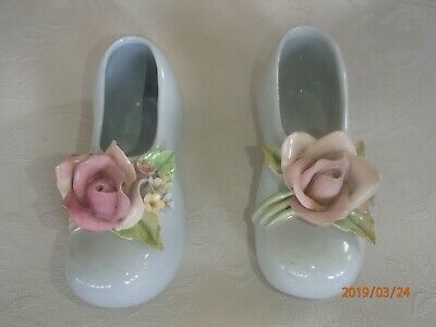 Vintage Set Of Two Porcelain Baby Blue Shoes With Rose
