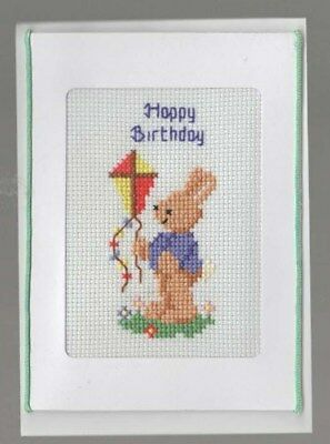 Handmade Happy Birthday Card Crosstitched Rabbit with a Kite