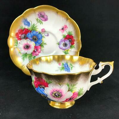 Royal Albert Gold Crest Series ANEMONES Heavy Gold Trim Cup And Saucer