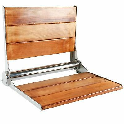 "19"" x 15"" Folding Solid Teak Wood Shower Bench Seat Fold Up Chair Wall-Mounted"