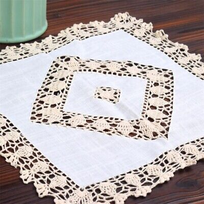 Vintage Style Hand Crochet Beige Lace Inserted White Cotton Table Topper